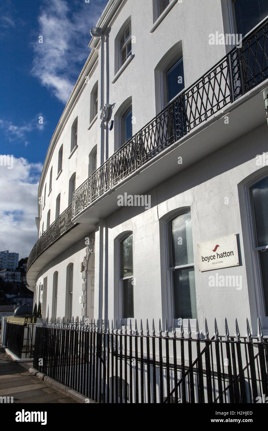 The terrace Torquay,harbour view,Torquay,Agatha Christie,Terraced house in use as offices. c1830s. Cement-rendered - Stock Image