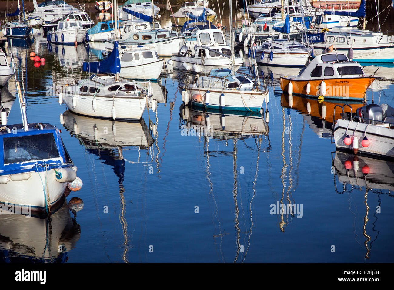 Paignton Harbour nestles on the western shores of TorBay situated midway between Torquay and Brixham harbours. - Stock Image