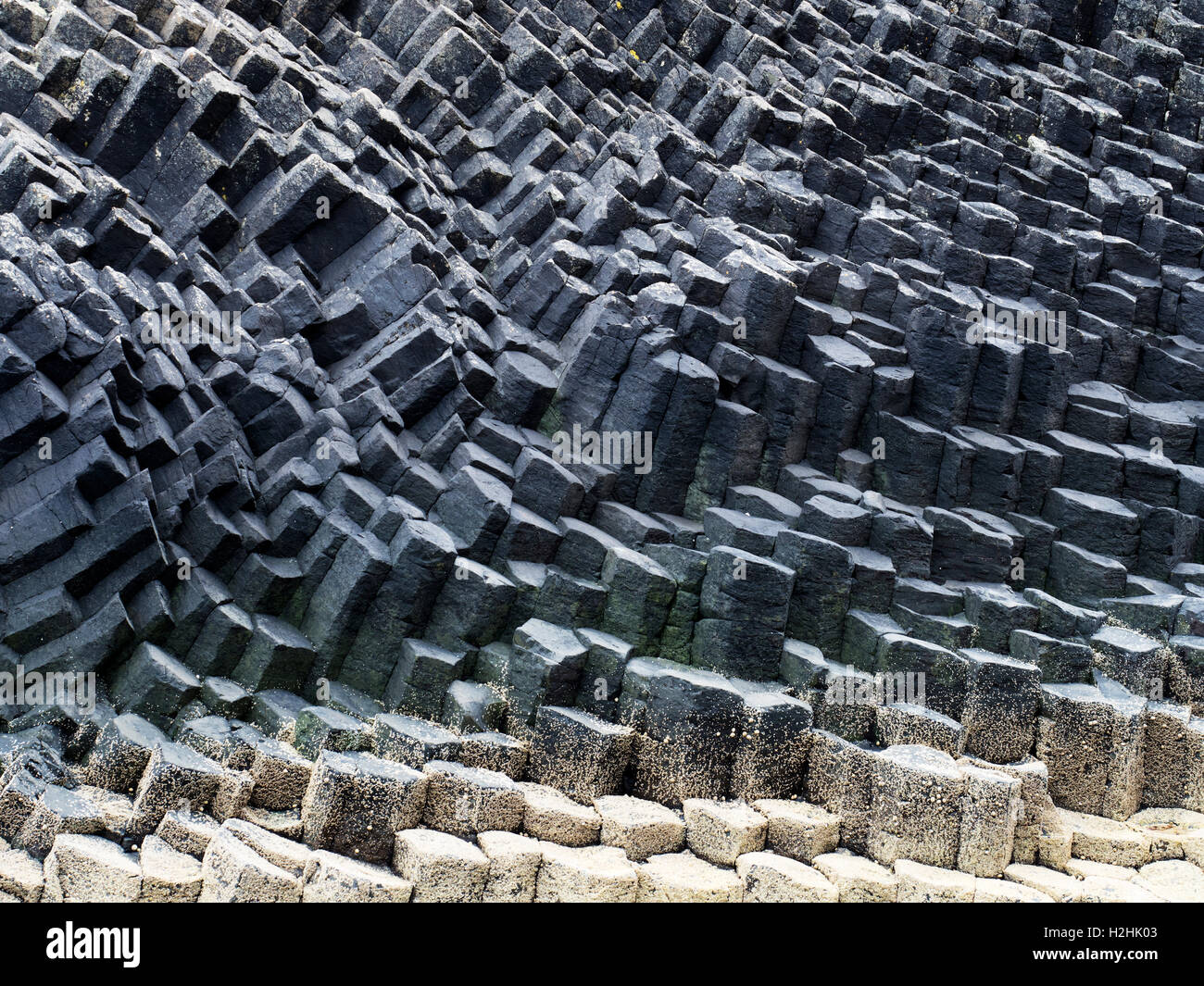 Basalt Columns on the Isle of Staffa Argyll and Bute Scotland - Stock Image