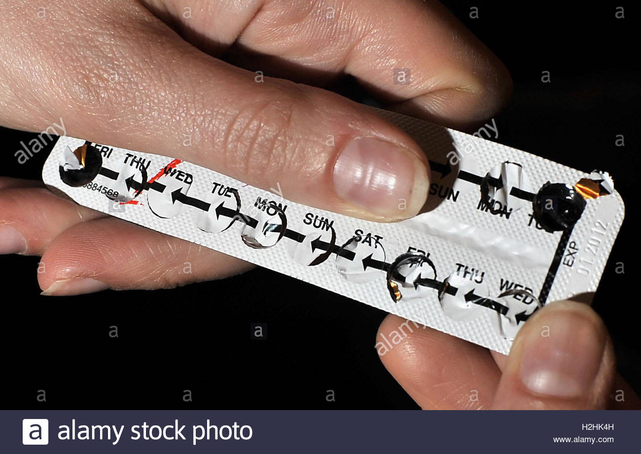 Embargoed to 0001 Thursday September 29 File photo dated 14/08/09 of a strip of contraceptive pills, as women taking - Stock Image