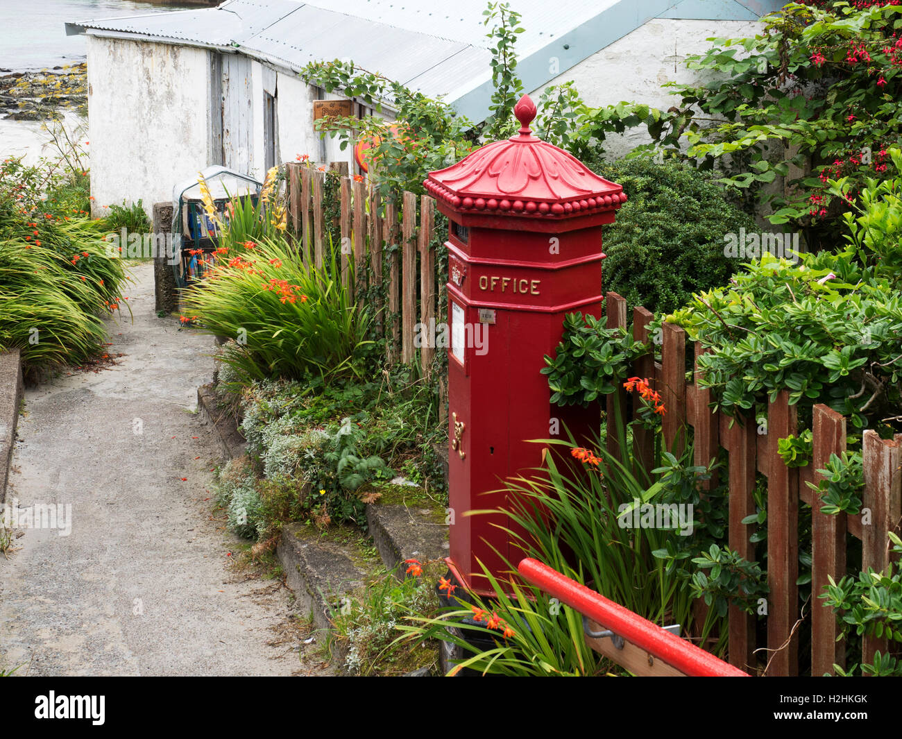 Red Letter Box at the Post Office on Iona Argyll and Bute Scotland - Stock Image