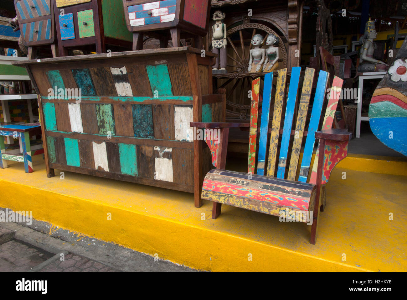 Indonesia, Bali, Mas, reproduction newly made shabby chic painted furniture made for European market export - Stock Image