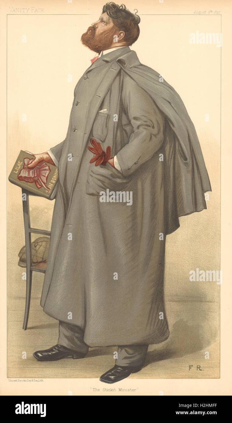 SPY CARTOON. SR Crockett 'The Stickit Minister'. Scottish novelist. Writer. 1897 - Stock Image