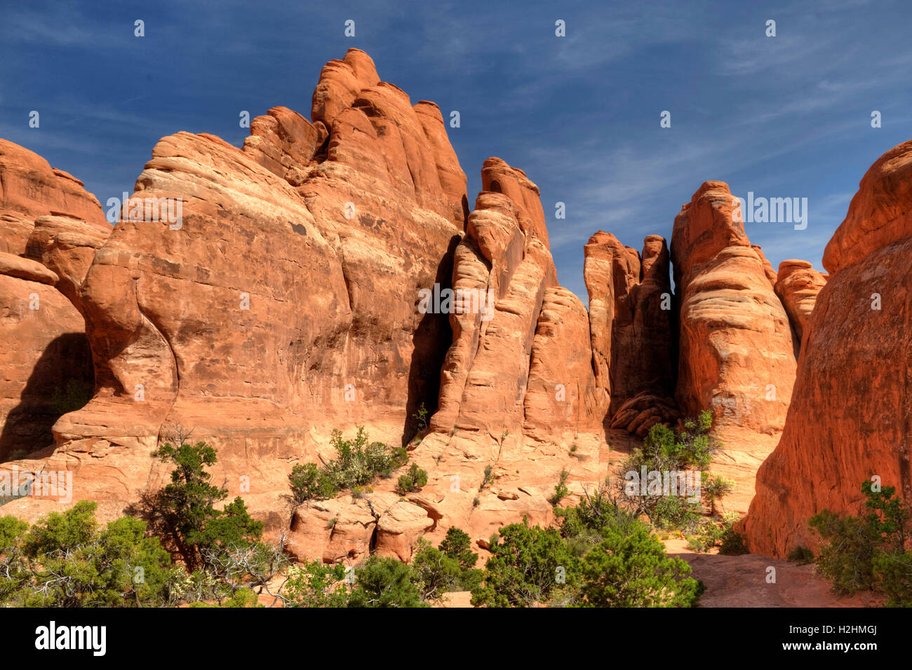 Fins of Entrada sandstone in the vicinity of Tower Arch in Arches National Park, Utah - Stock Image