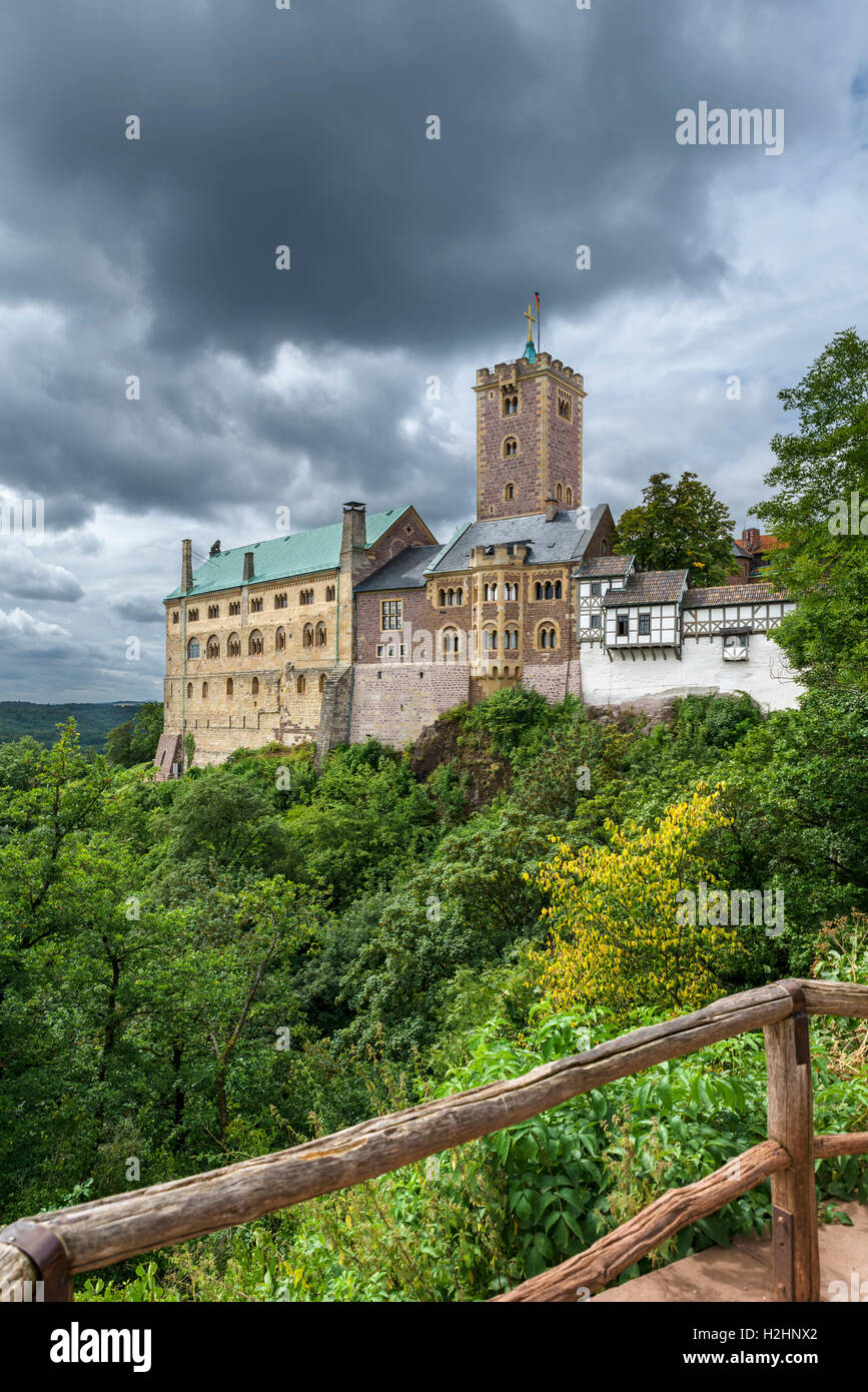 The Wartburg castle, where Martin Luther worked on translating the New Testament into German, Eisenach, Thuringia, - Stock Image