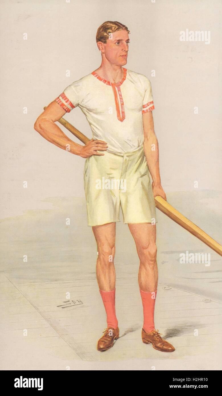 VANITY FAIR CARTOON. Raymond Etherington-Smith BA MB BC FRCS 'Ethel'.Rowing 1908 Stock Photo