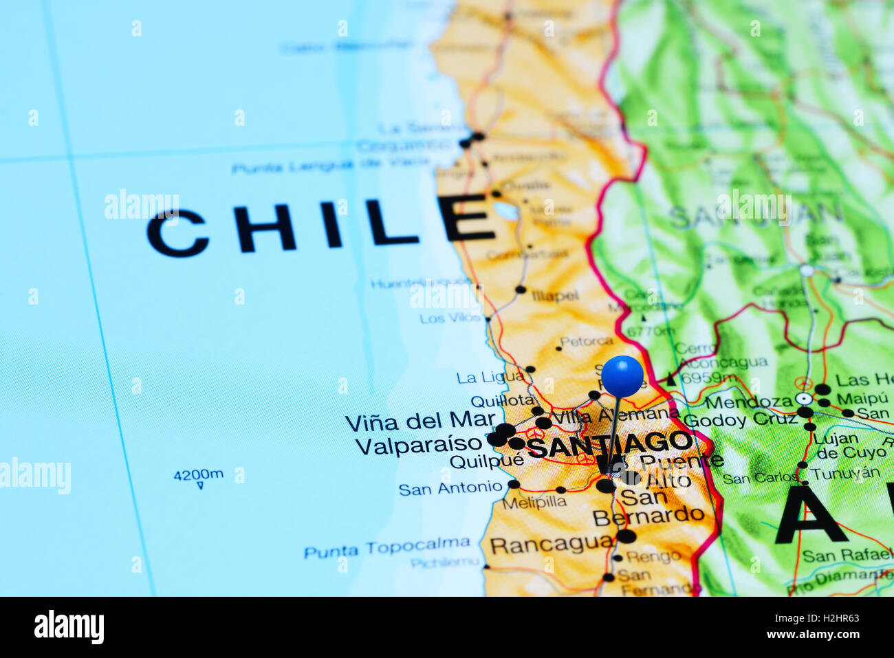 Santiago pinned on a map of Chile Stock Photo: 122093275 - Alamy on dominican republic map, juarez map, punta arenas map, lima map, san juan map, michoacan map, luanda map, chile map, kingston map, caracas map, kabul map, quito map, buenos aires map, bolivia map, andes map, santo domingo map, south america map, montevideo map, rio de janeiro map, torres del paine map,