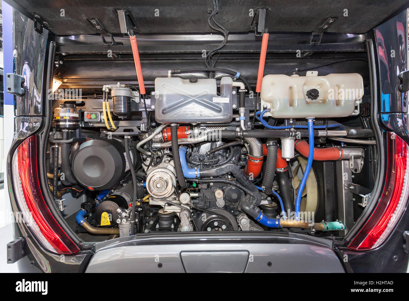 engine bay in the back of a modern bus stock photo