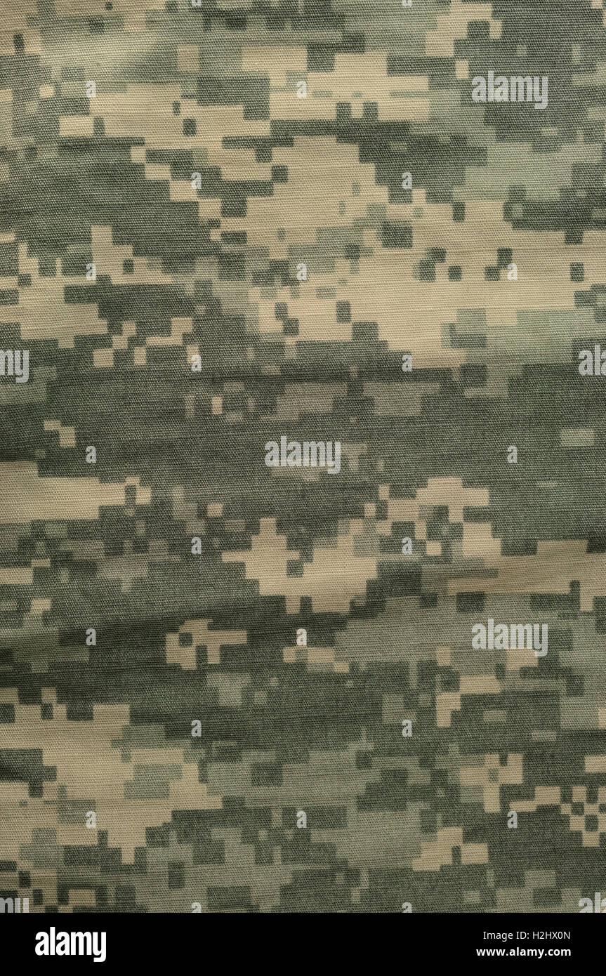 Universal camouflage pattern, army combat uniform digital camo, USA military ACU macro closeup, vertical detailed - Stock Image
