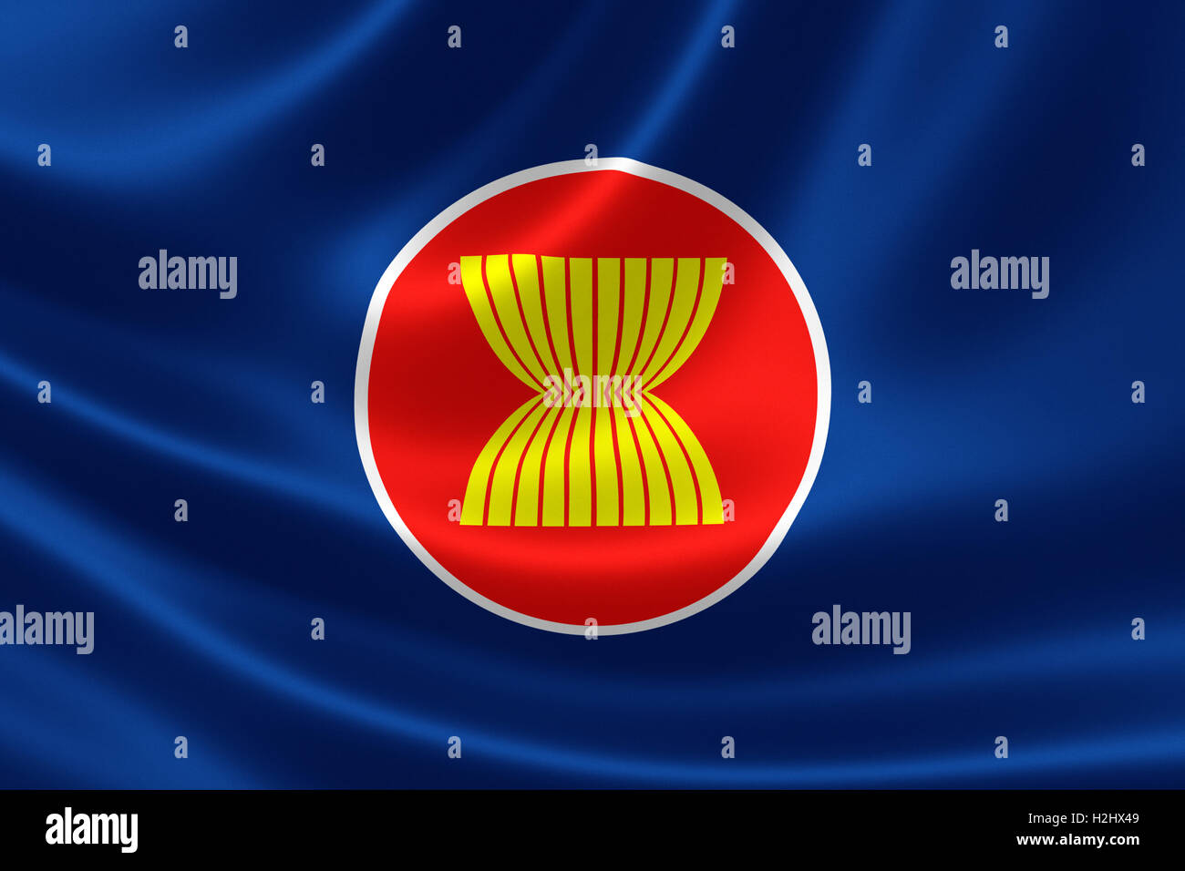 Association Of Southeast Asian Nations (ASEAN) flag on silky fabric - Stock Image