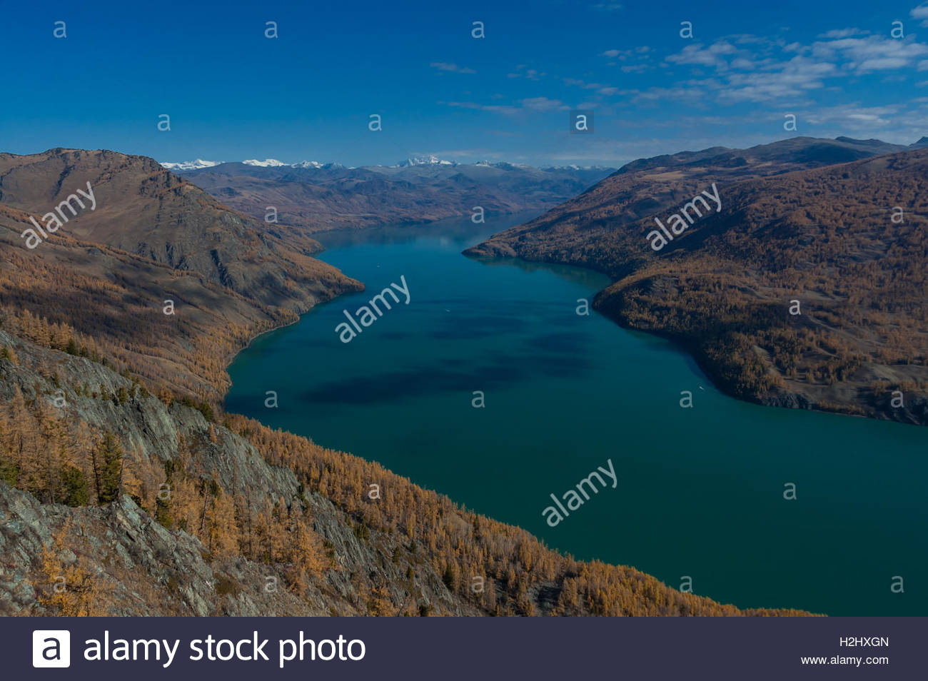 Kanas Lake Nature Reserve taken from a hillside in the park. Xinjiang Province China near the borders with Russia - Stock Image
