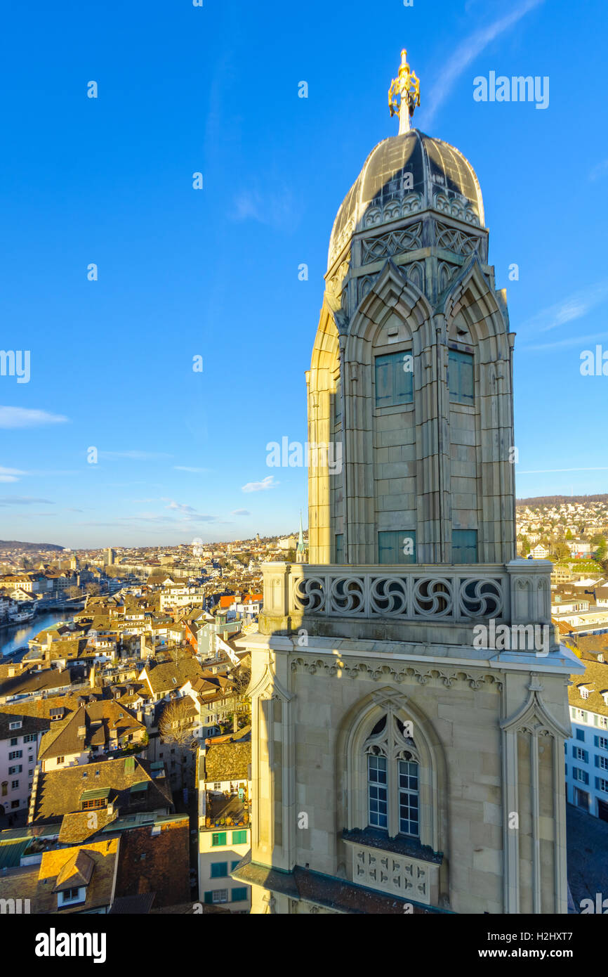 View of the Old Town (Altstadt) and the tower of the Grossmunster (great minster) Church. In Zurich, Switzerland - Stock Image