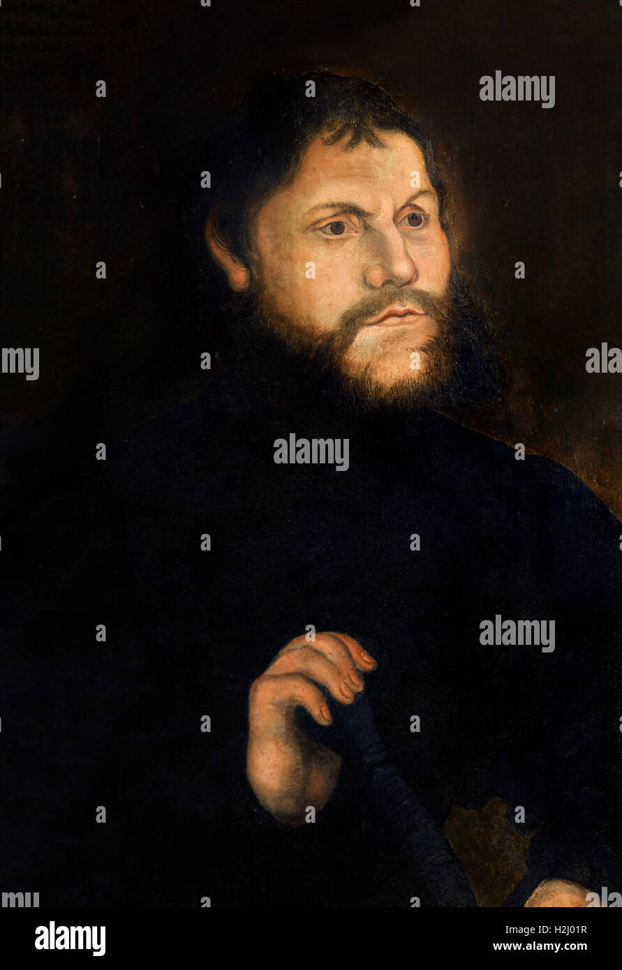 Martin Luther (1483-1546) as Junker Jörg by workshop of Lucas Cranach the Elder, c.1537. Whilst in hiding at - Stock Image