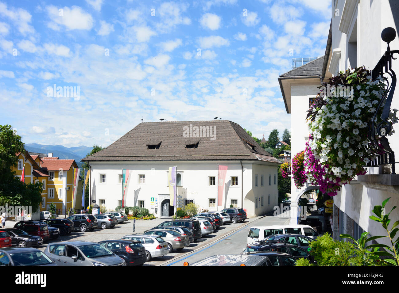 Millstatt am See: Main Square, Town Hall, , Kärnten, Carinthia, Austria - Stock Image