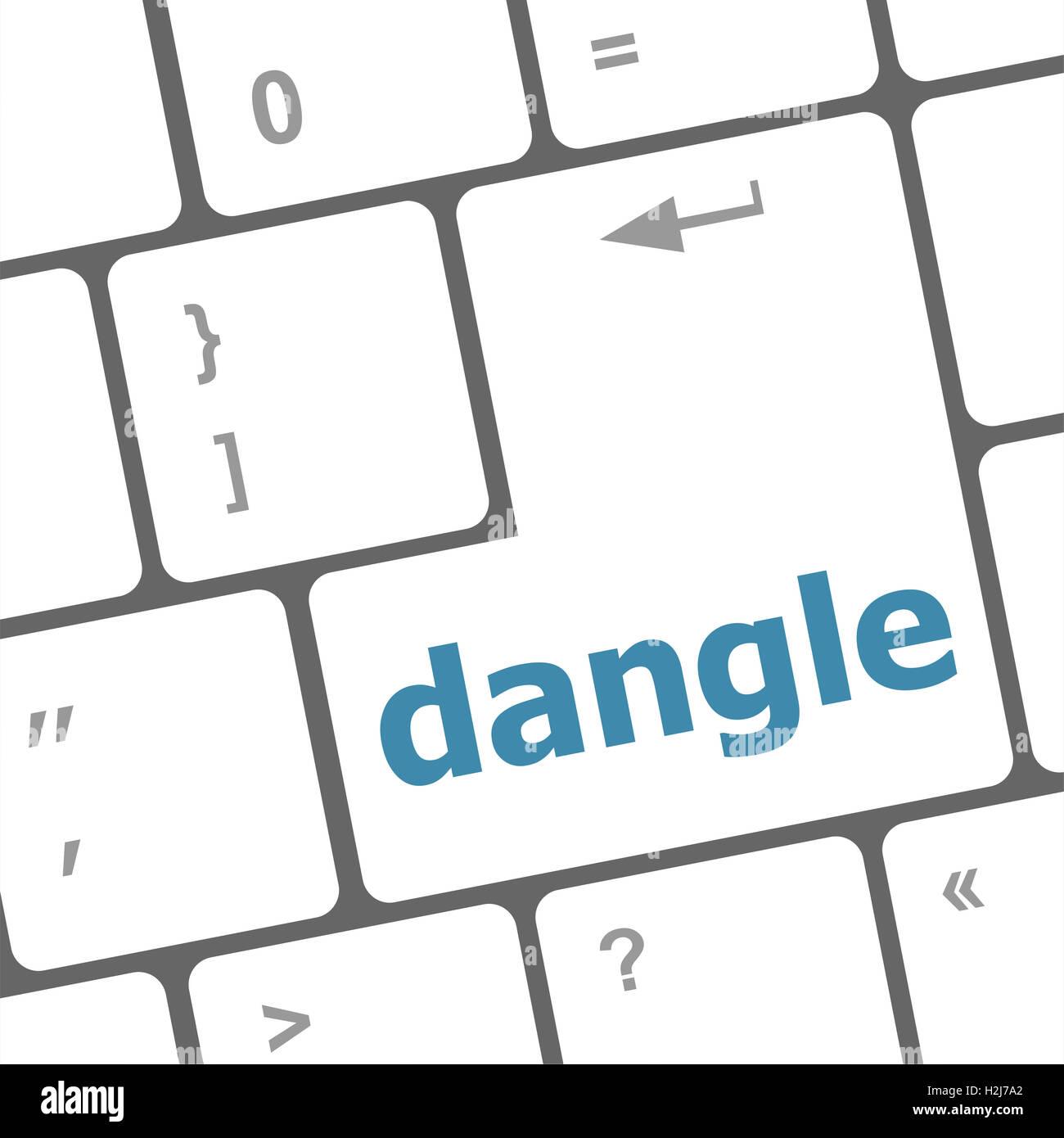 dangle word on computer keyboard key - Stock Image