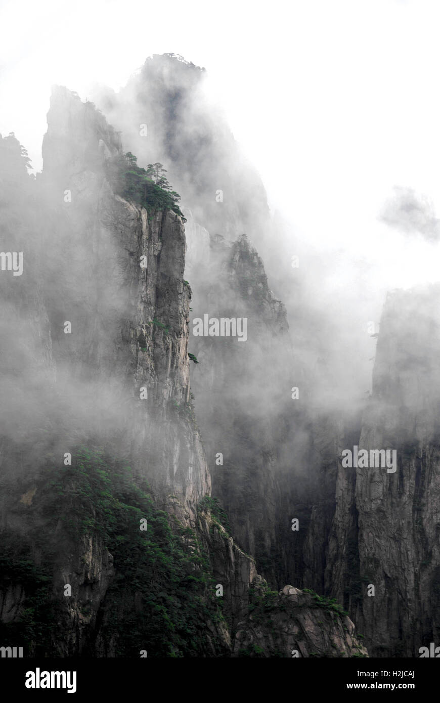 Clouds envelop the crags at Xihai Canyon in the Huangshan mountains of China. - Stock Image