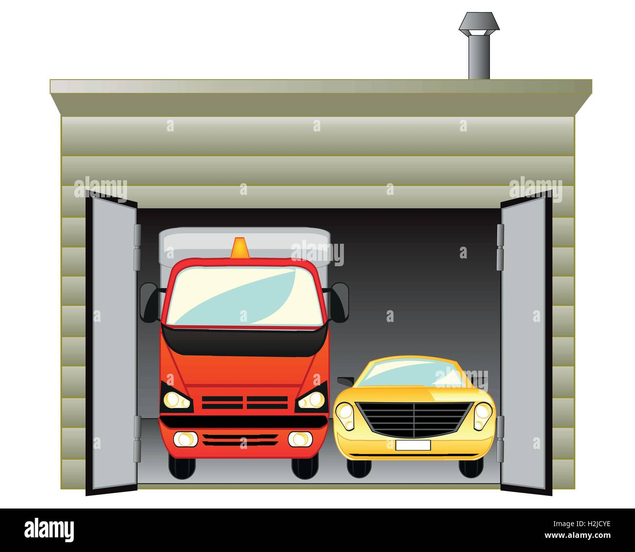 Garage with car - Stock Vector