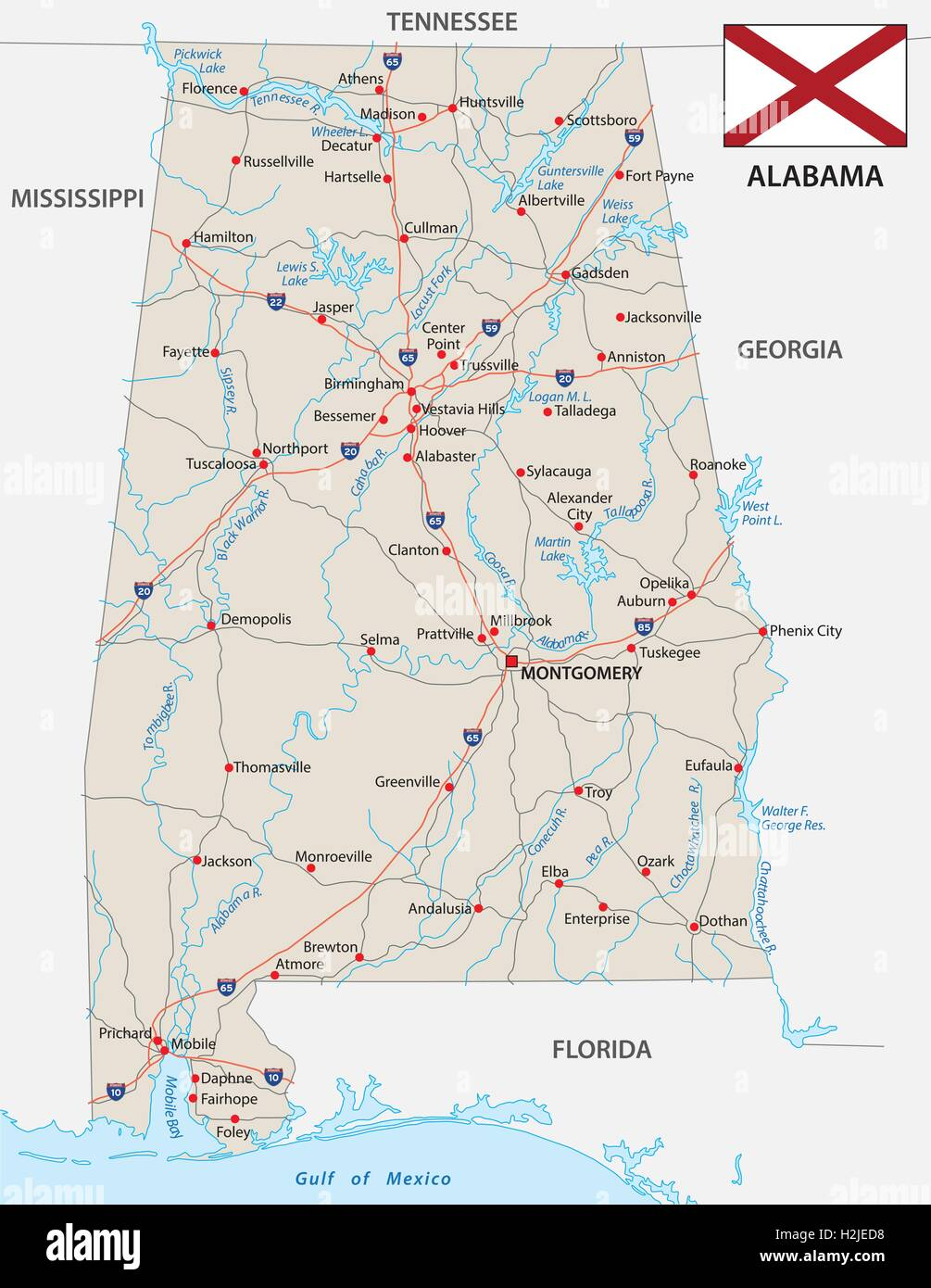 alabama road map with flag Stock Vector Art & Illustration, Vector on auburn alabama zip code map, kentucky road map, alabama time zone map, i 22 corridor map, interstate 65 tennessee map, alabama congressional district map,