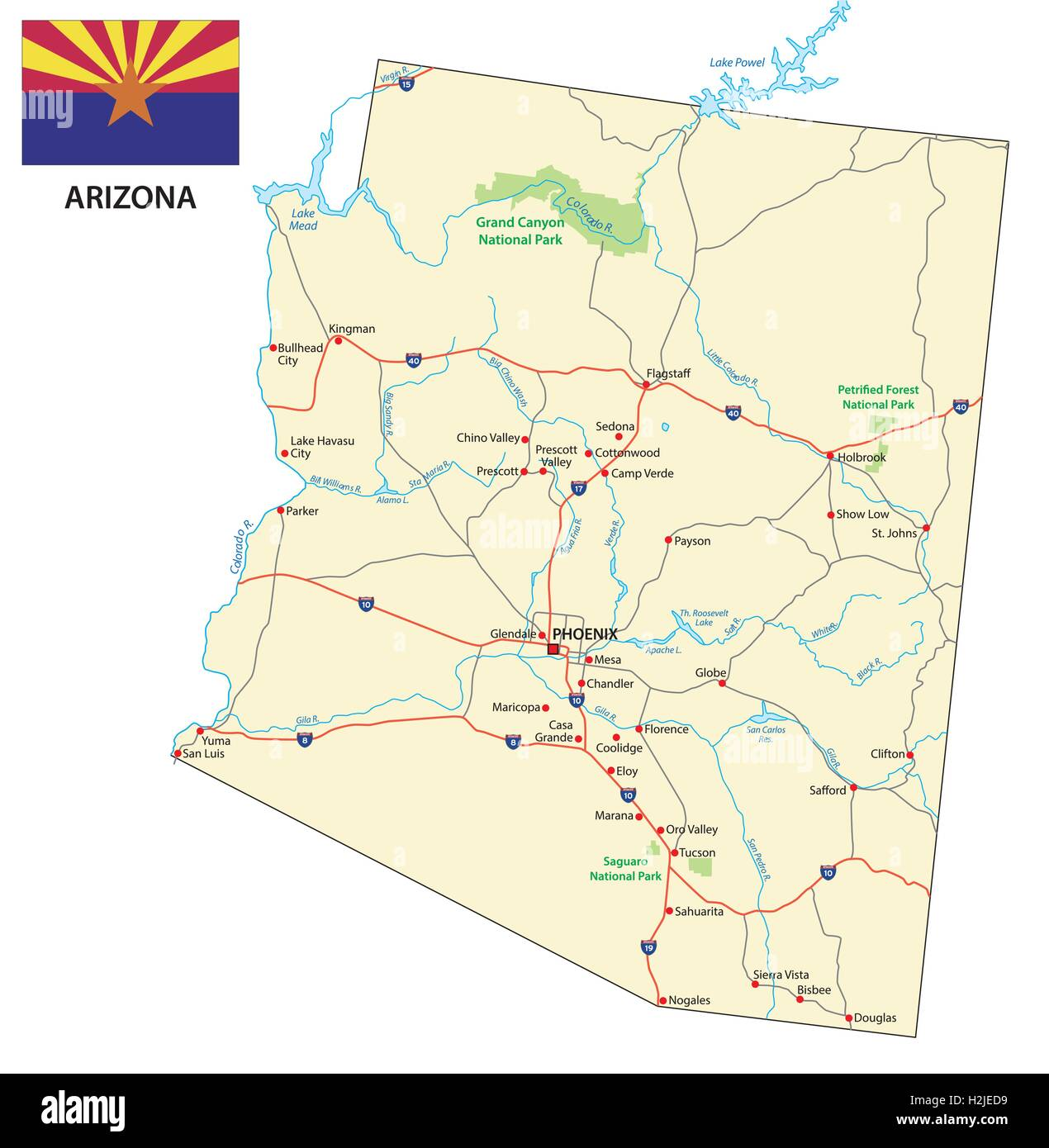 arizona road map with flag stock image