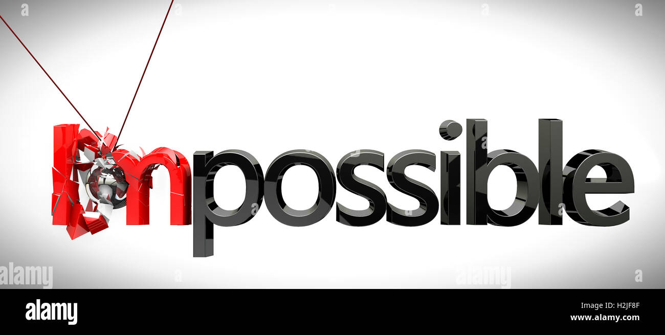 Success concept,metal ball rocker breaking impossible - Stock Image