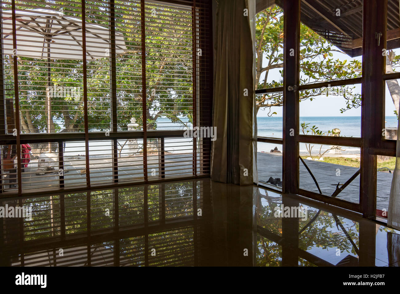 April 13, 2016, Koh Samui, Thailand, Outlook from hotel room at Crystal Bay Yacht Club - Stock Image