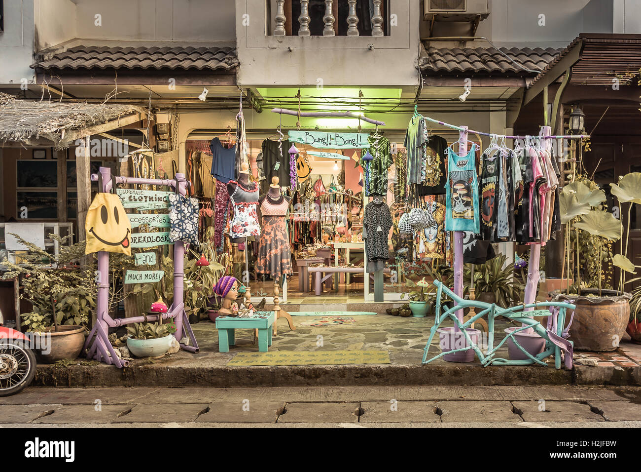 April, 2016, Boutique on the nightmarket in Tongsala, Thailand - Stock Image