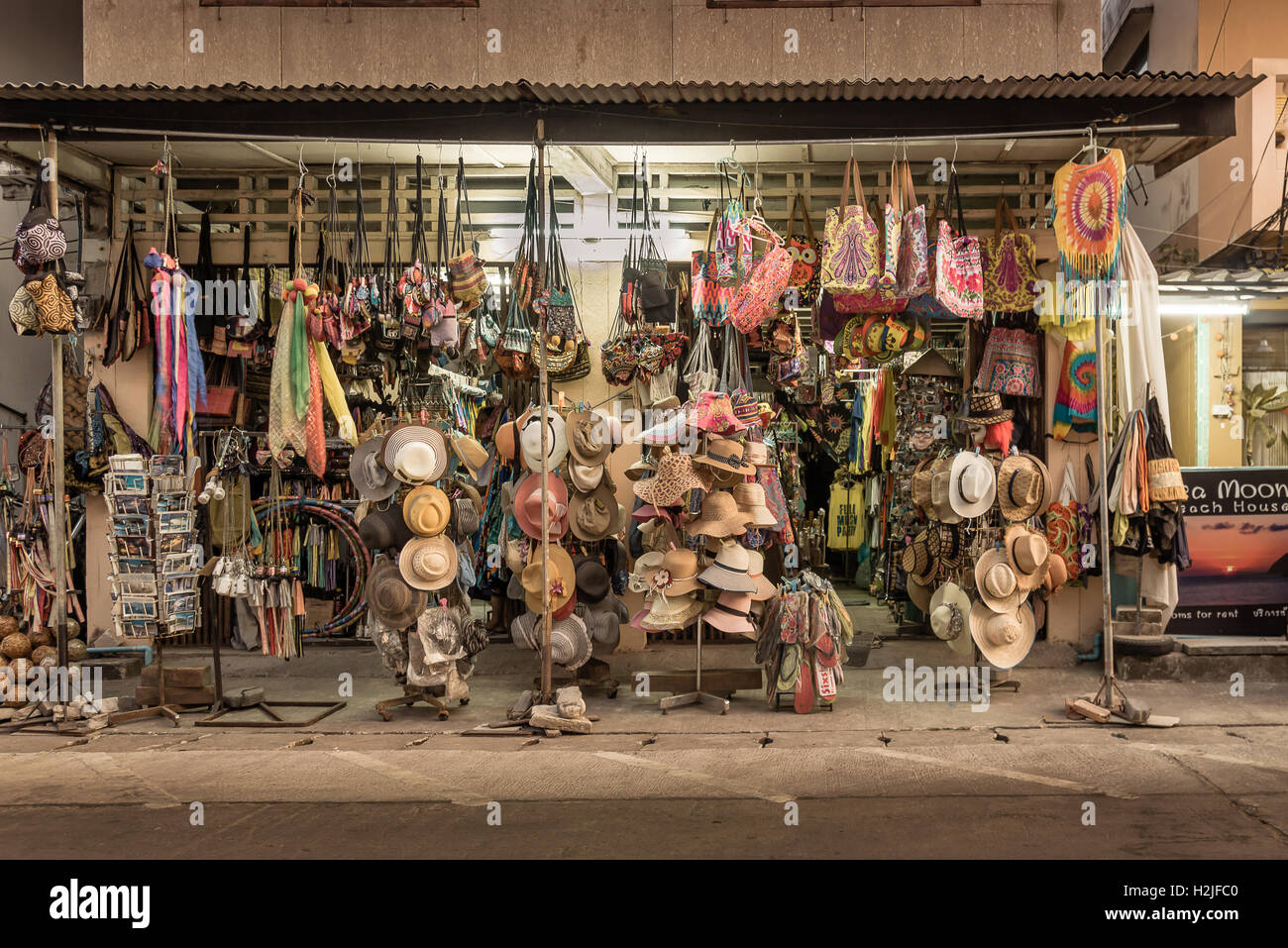 Koh Pangan Thailand. Aprol, 2016, Boutique with lots of hats on the nightmarket i Tongsala, Thailand - Stock Image