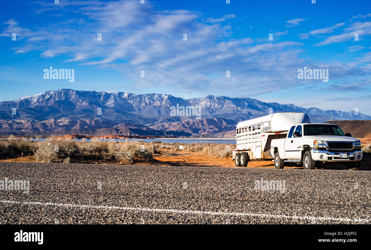 Pick-up vehicle with horse trailer on rocky background Stock Photo