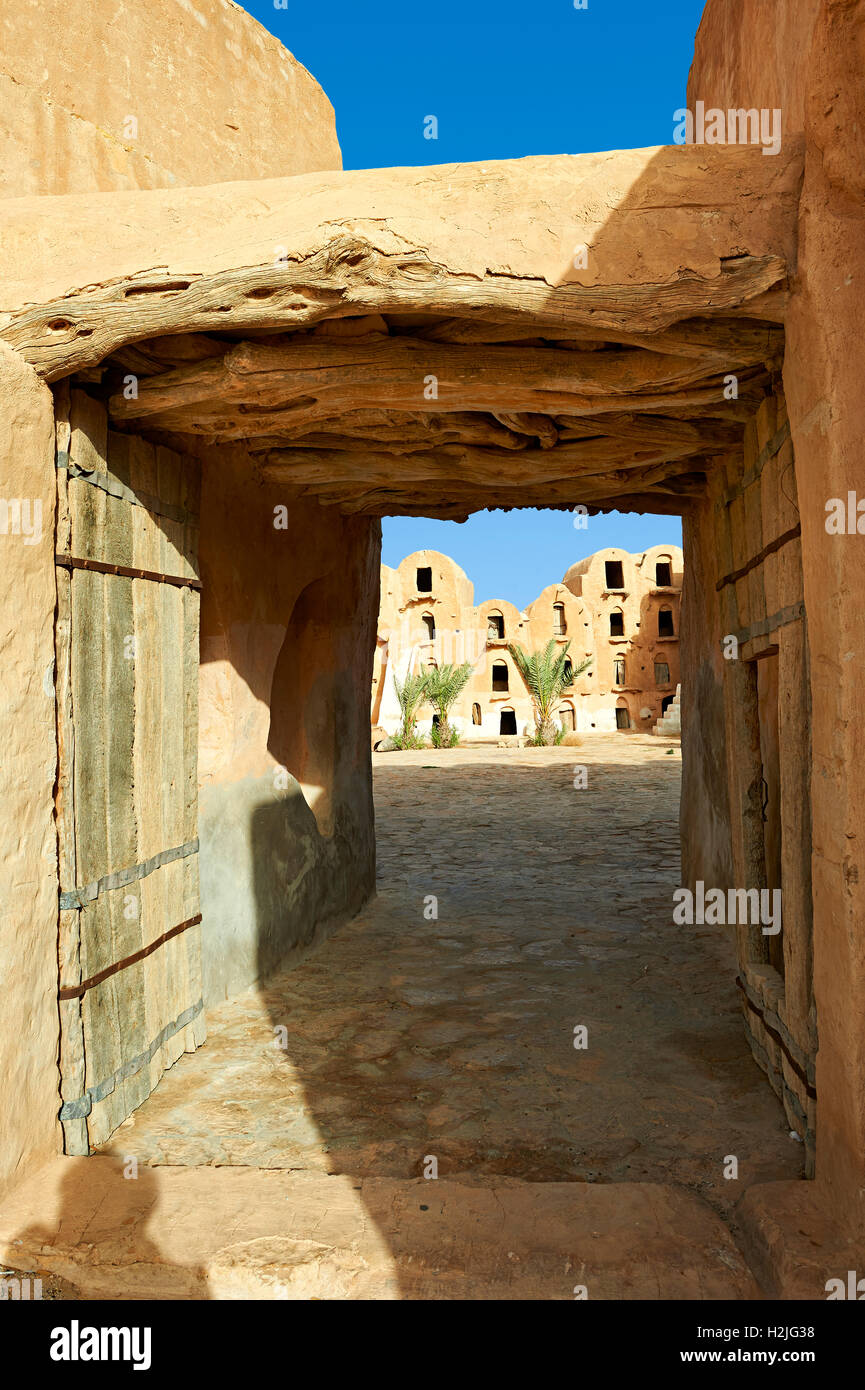 Ksar Ouled Soltane, a traditional fortified Berber adobe vaulted granary ghorfas, northern Sahara, Tataouine. Tunisia, Stock Photo