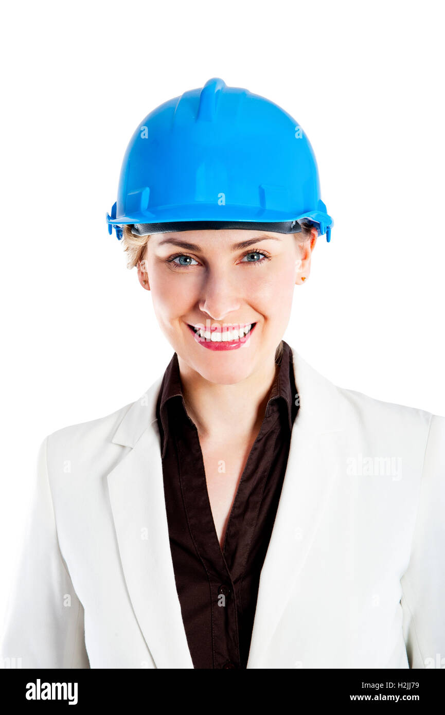 photo of female constructor or architekt with hard hat over white background - Stock Image