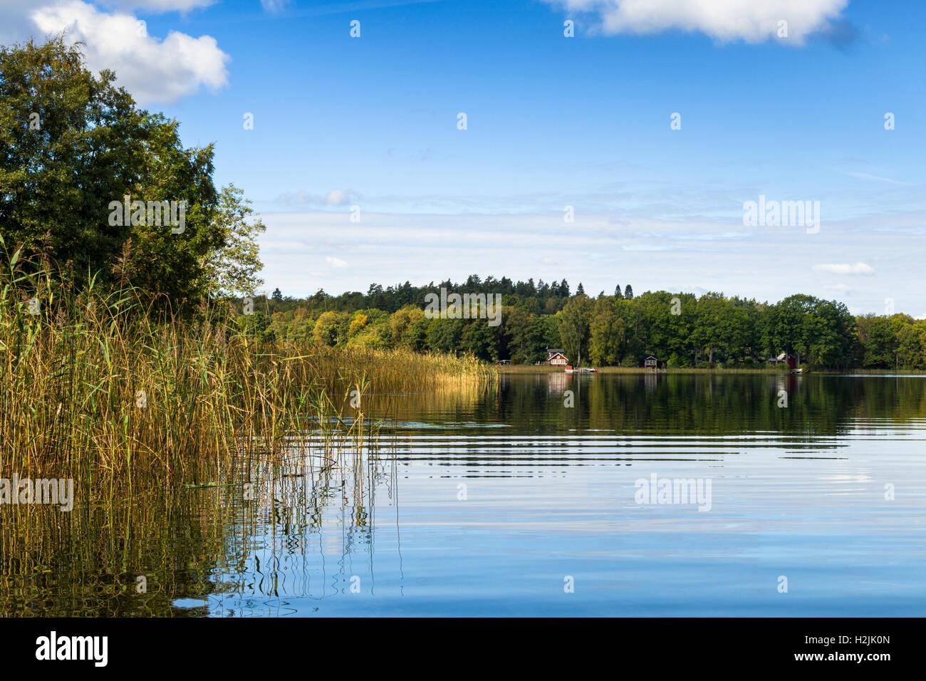 Lake Sävelången landscape waterscape picturesque scenery scenic close to Nääs Castle in Floda, - Stock Image