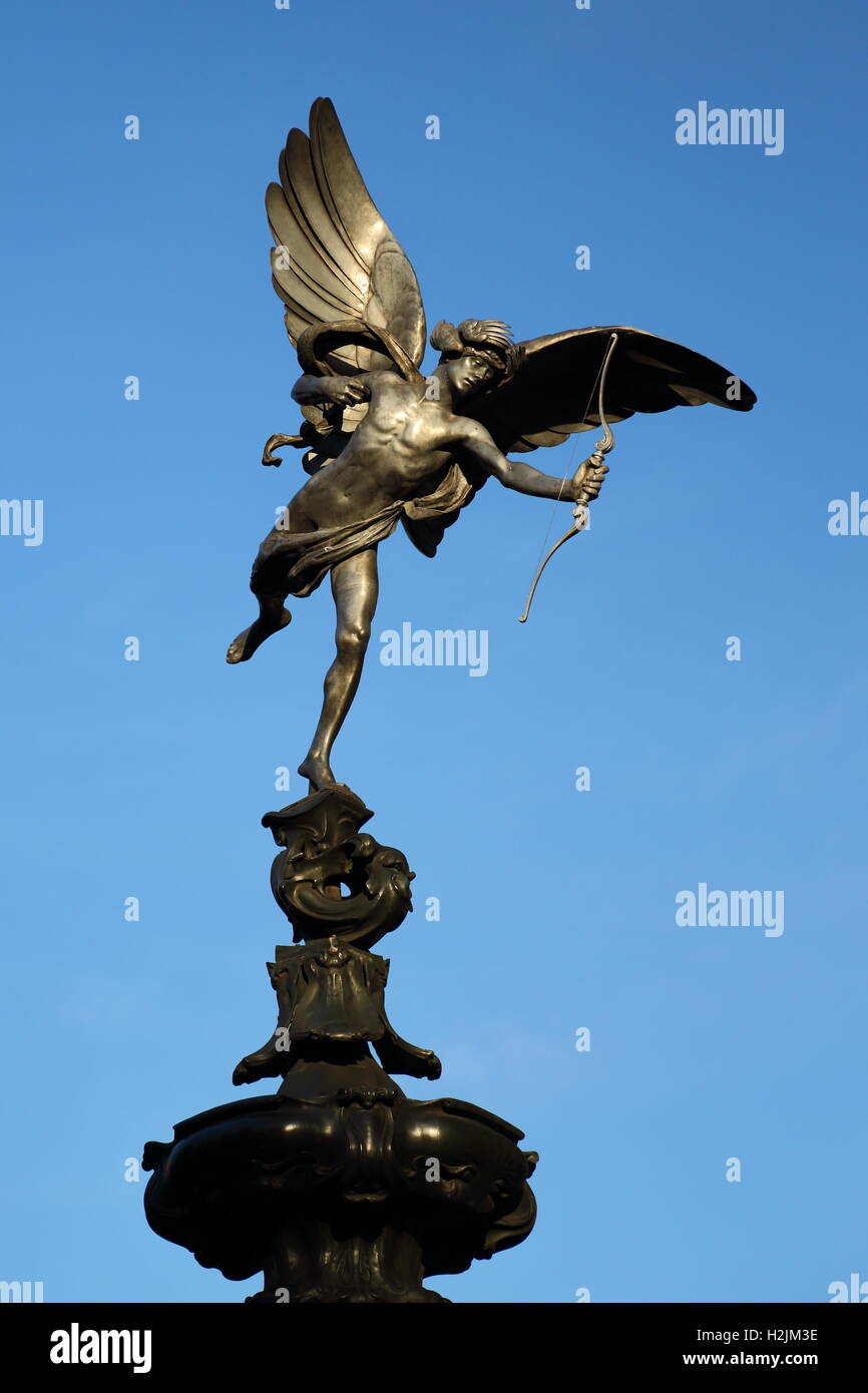 Anteros statue by Alfred Gilbert atop the Sahftsbury Memorial Fountain in Piccadilly Circus, London, UK - Stock Image