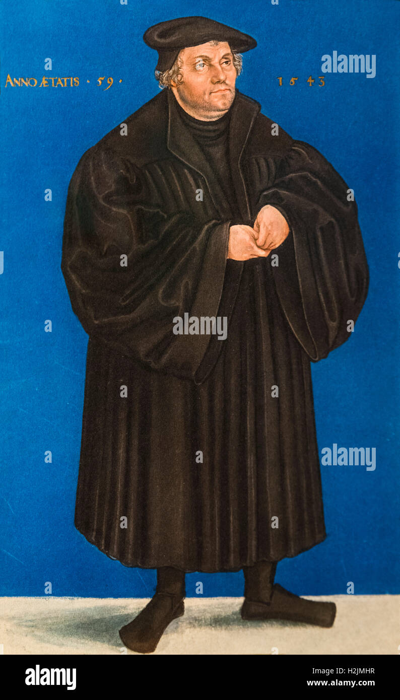 Martin Luther (1483-1546), a German professor of theology and a key figure in the Protestant Reformation. Portrait - Stock Image