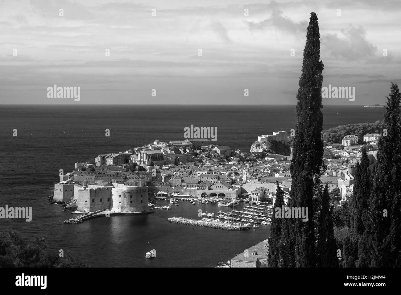 Stari grad (old town) and the old harbour, from Ulica Bruna Bušića, Dubrovnik, Croatia - Stock Image
