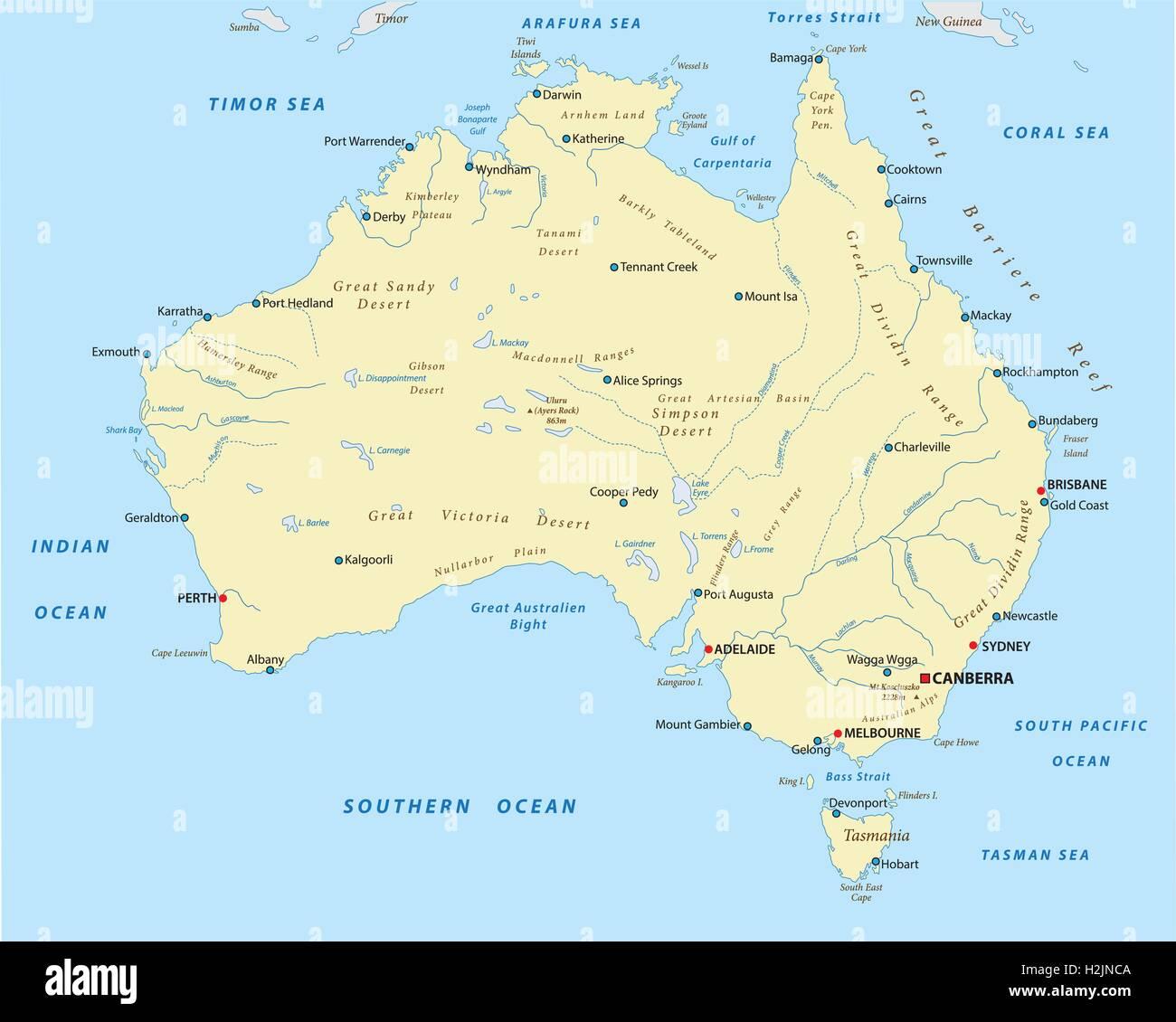 Map Of Australian Landscapes.Australia Landscape Map Stock Vector Art Illustration Vector