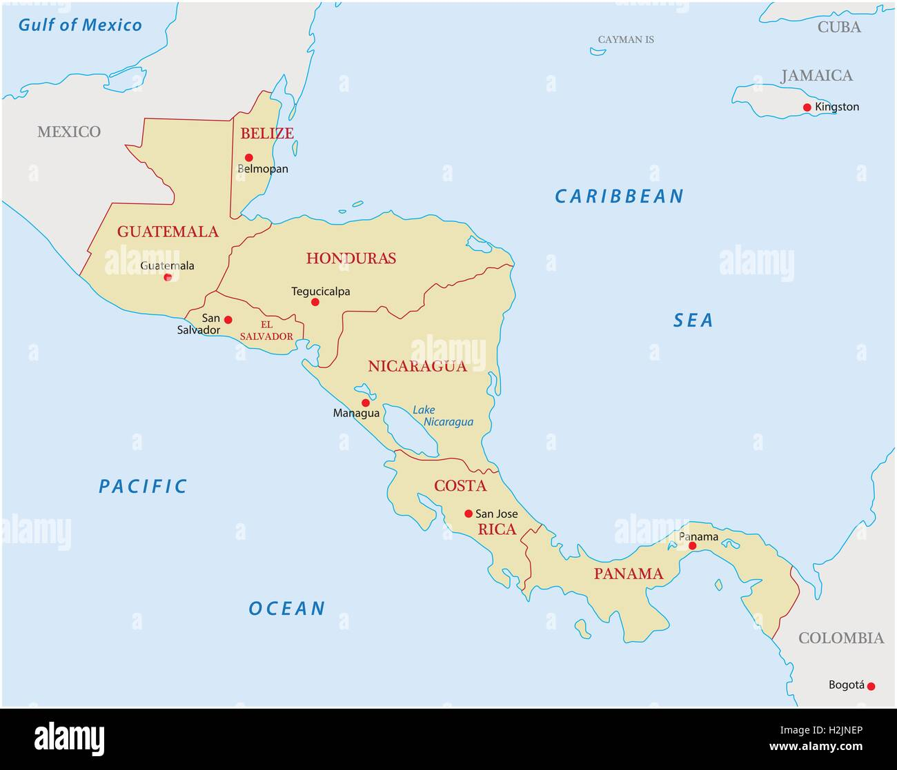 Central America Map Stock Photos & Central America Map Stock Images ...