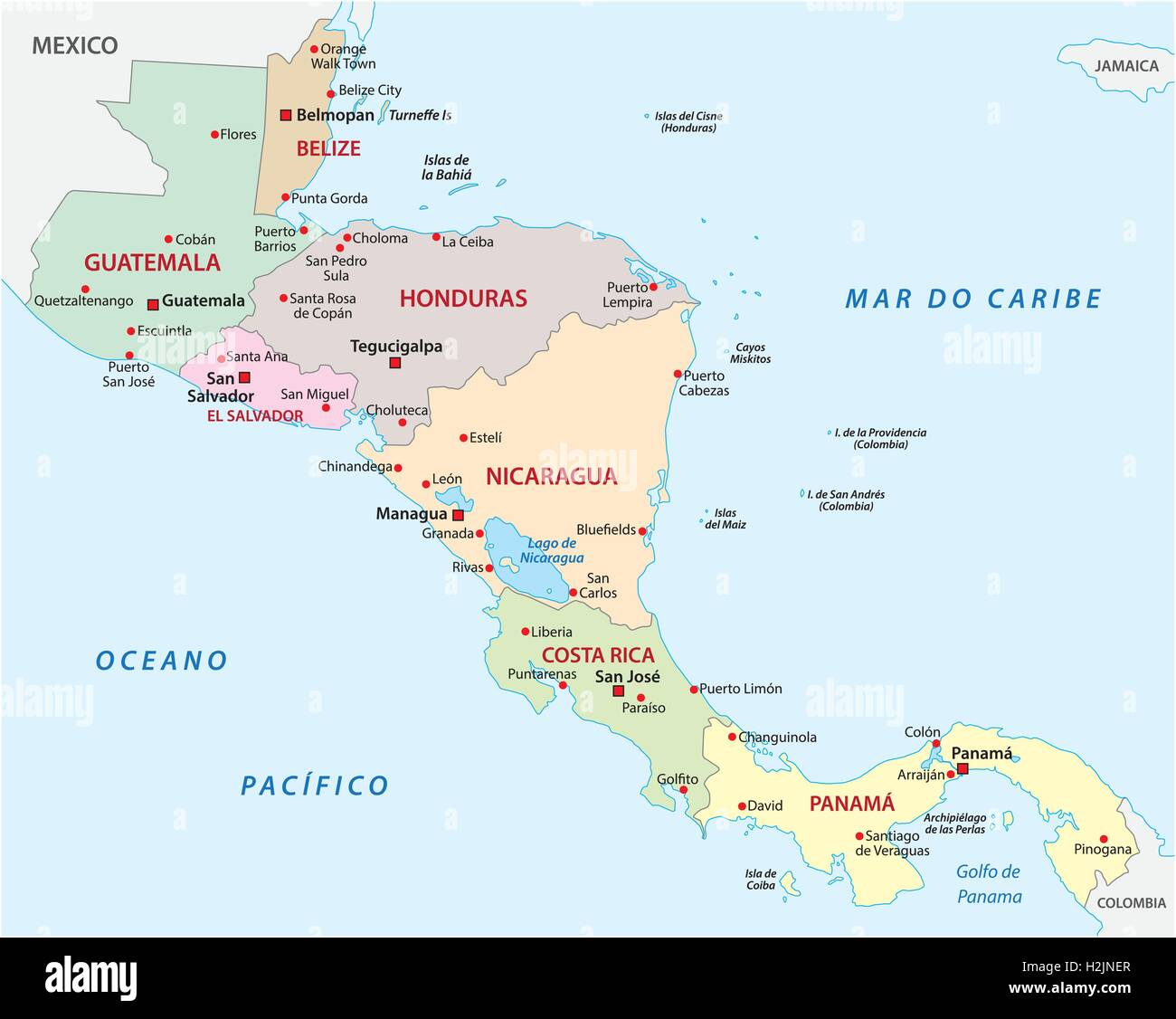 outline map of central america states Stock Vector Art ...