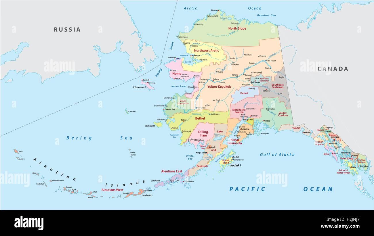 Alaska Administrative Map   Stock Image