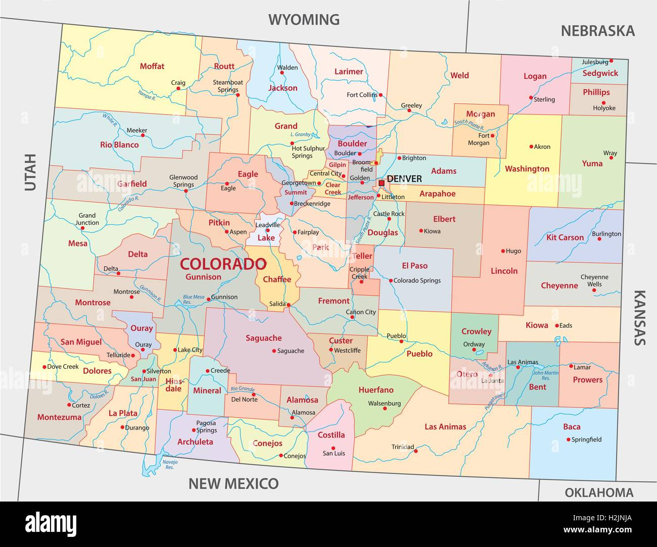Akron Colorado Map.Colorado Administrative Map Stock Vector Art Illustration Vector