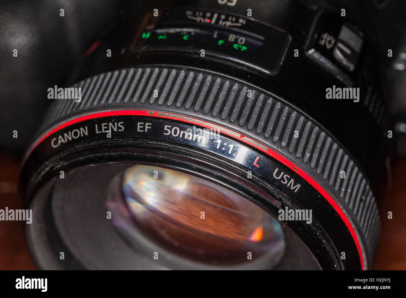 Canon EF 50mm f/1.2 lens showing wear and tear on lens ring. - Stock Image
