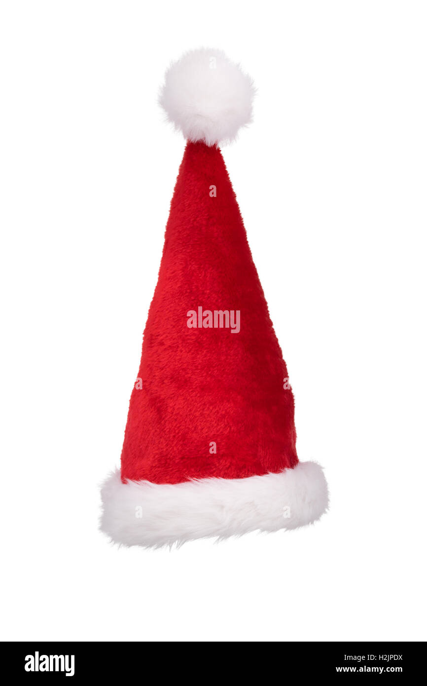2fb8c54a Santa's hat standing straight isolated on pure white background ...