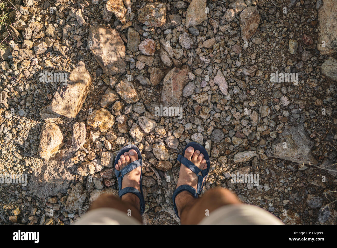 Sandals in the rocky desert of Saguaro National Park - Stock Image