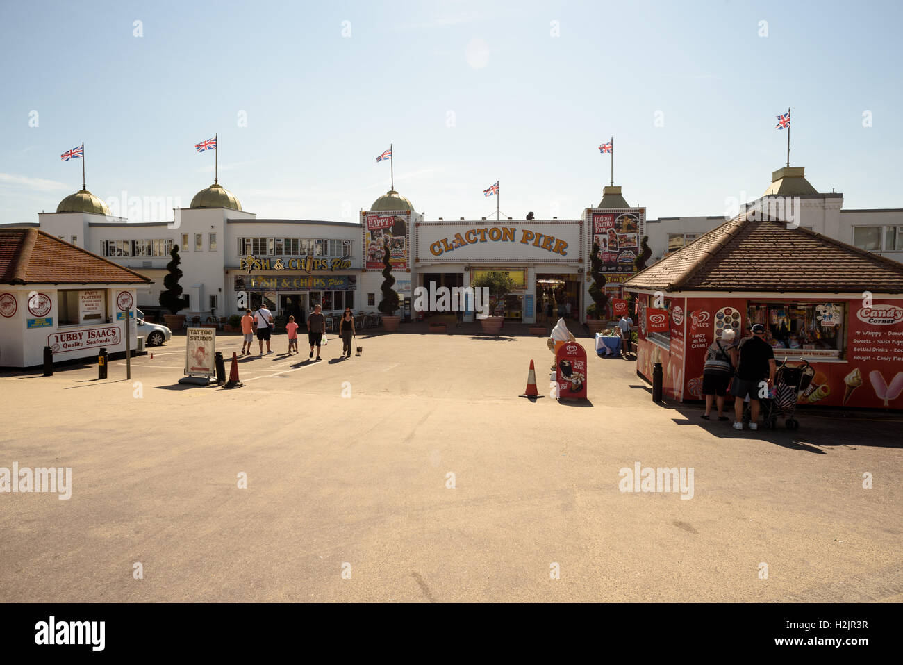 Clacton Pier is a famous seaside attraction in Essex England during the summer months - Stock Image