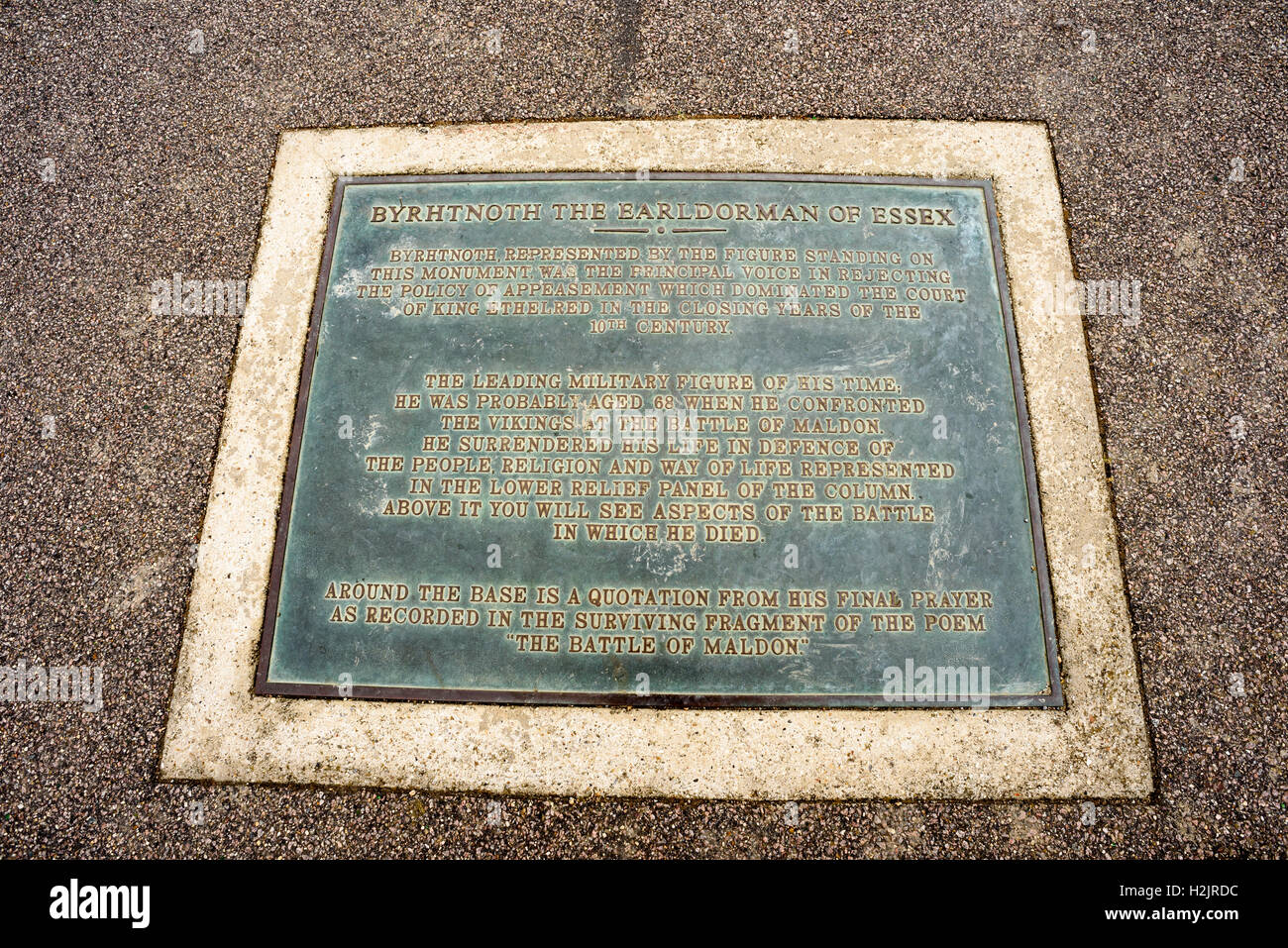 Byrhtnoth the Earldorman of Maldon Plaque memorial seen in the popular estuary town in Essex England - Stock Image
