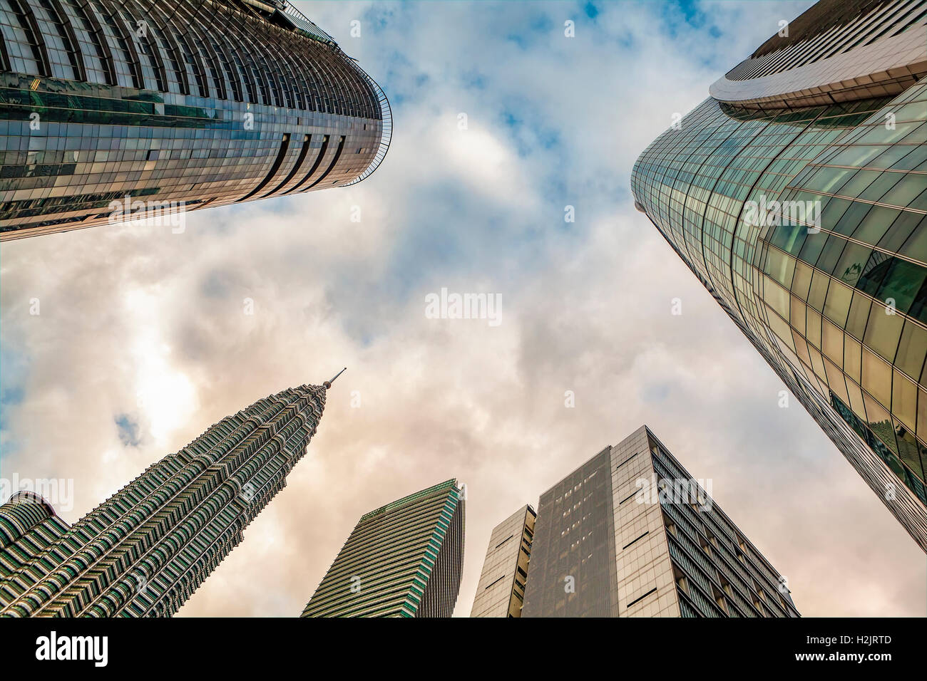 Unusual angle of Petronas Twin Tower #2 and neighboring skyscrapers in Kuala Lumpur, Malysia. - Stock Image