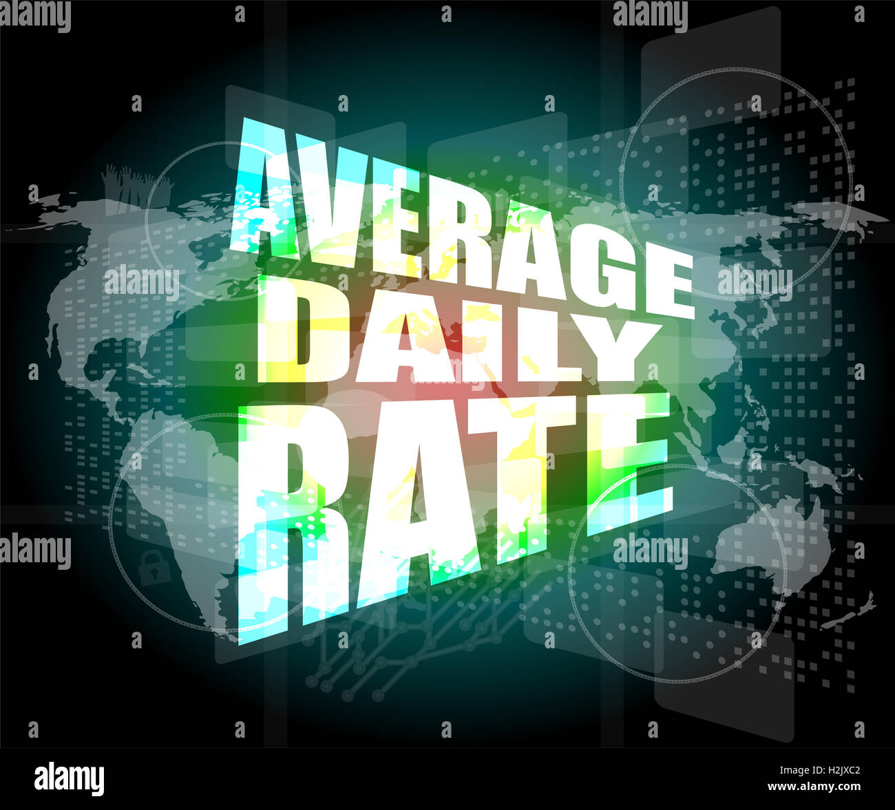 words average daily rate on digital touch screen - Stock Image