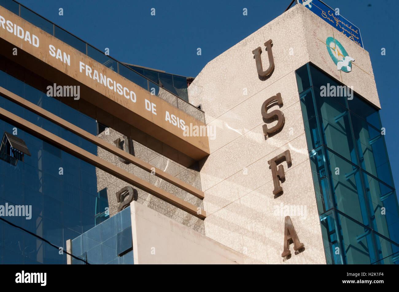 Universidad San Francisco de Asis, Sopocachi, La Paz - Stock Image
