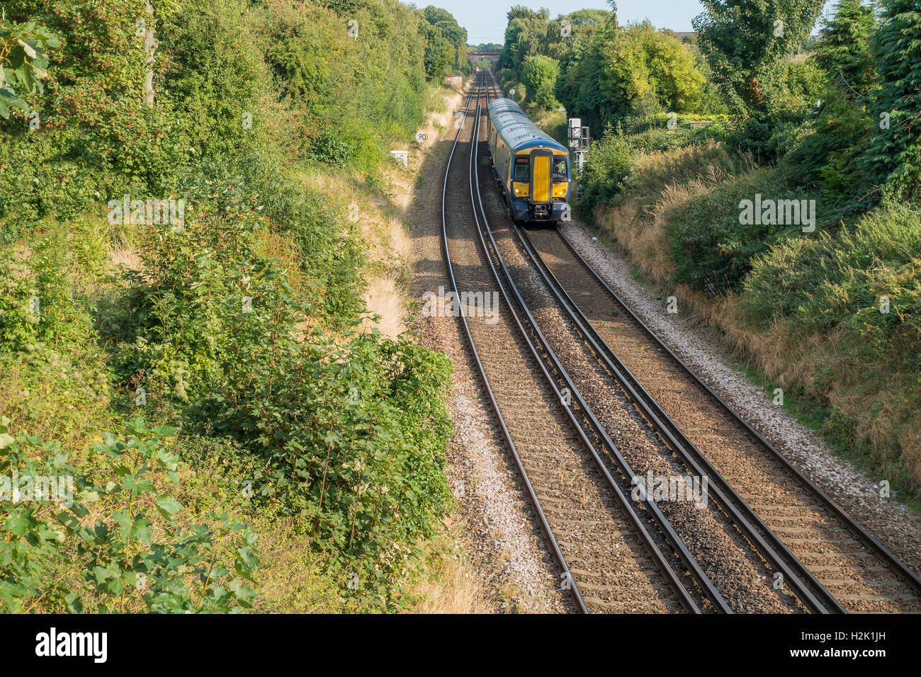 Southeastern Train Approaching Canterbury from Dover Kent England - Stock Image