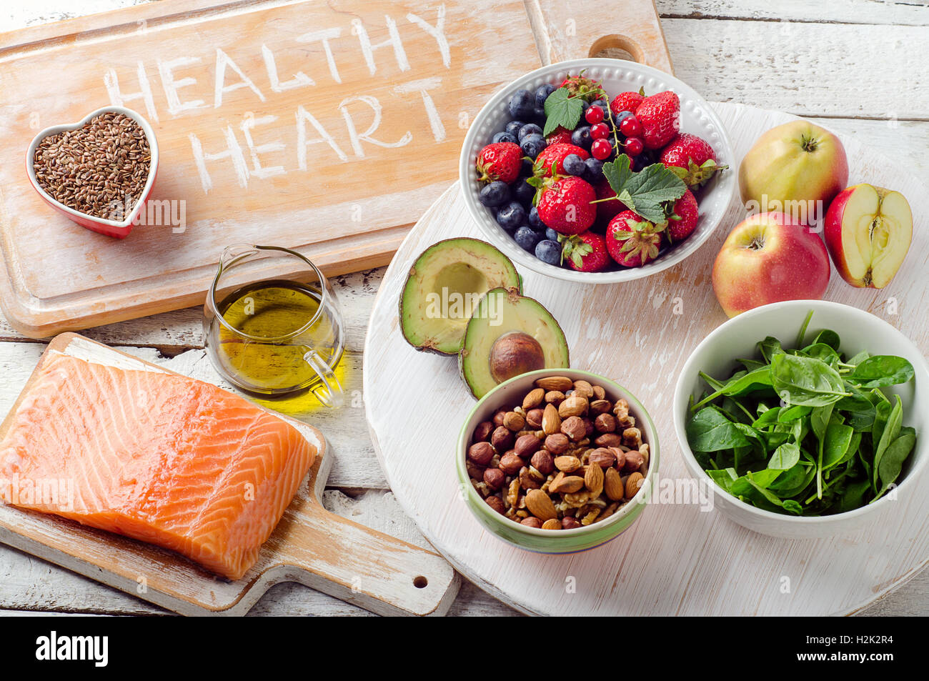 Best Foods For Your Heart Healthy Diet Top View Stock Photo Alamy