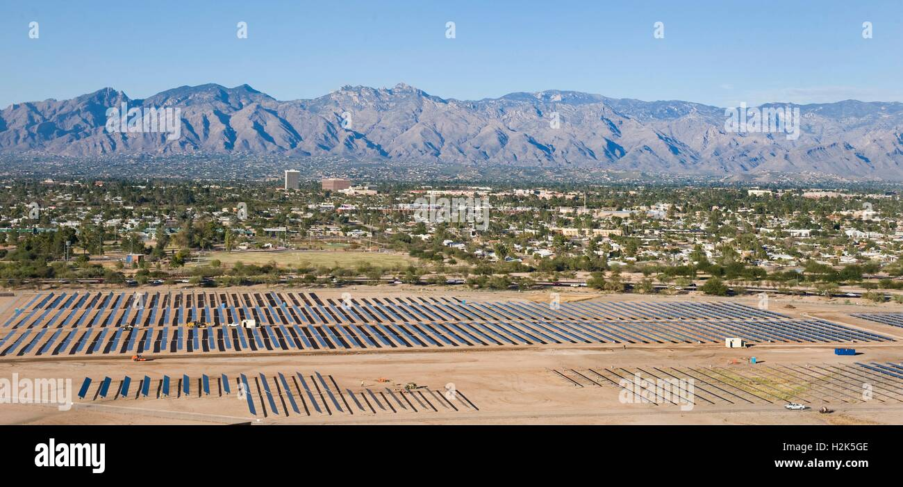 Rows of solar panels collect sunlight at the Davis-Monthan Air Force Base November 13, 2013 in Tucson, Arizona. - Stock Image